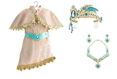 [Disney Store Pocahontas Costume Set ~ Dress, Jewelry & Tiara ~ Size 7/8] (Pocahontas Costumes Kids)