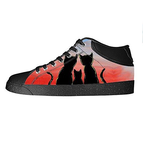 Chaussures De Toile De Dessin Animé De Chat Fait Sur Commande De Chat Les Chaussures De Lacets Baskets De Dessus Élevés