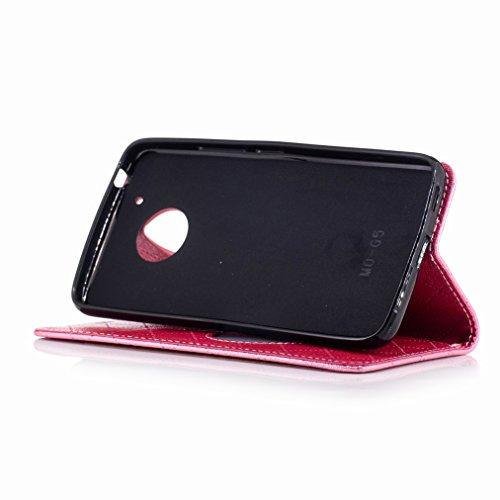 Yiizy Motorola Moto G5 Funda, Amar Diseño Solapa Flip Billetera Carcasa Tapa Estuches Premium PU Cuero Cover Cáscara Bumper Protector Slim Piel Shell Case Stand Ranura para Tarjetas Estilo (de rosa)