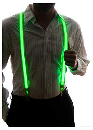 Neon Nightlife Men's Light Up LED Suspenders, One Size, Green