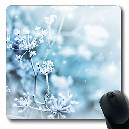 Tobesonne Mousepads Weather Blue Snowflake Winter Scene Frozenned Flower Nature Deep Parks Snow Ice ICY Sky Snowy Design Oblong Shape 7.9 x 9.5 Inches Non-Slip Gaming Mouse Pad Rubber Oblong Mat