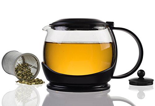Modern Innovations Large Glass Teapot Set with Stainless Steel Infuser, Lid & Cozy Warmer for Brewing Hot & Cold Tea, Borosilicate Glass Tea Pot for Kitchen Use Steeping Loose Leaf - Will In Water Melt Plastic Boiling