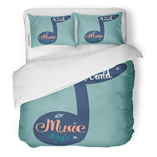 Semtomn Decor Duvet Cover Set Twin Size Audio Vintage World Music Day Lettering Badge Band Blues 3 Piece Brushed Microfiber Fabric Print Bedding Set Cover ()