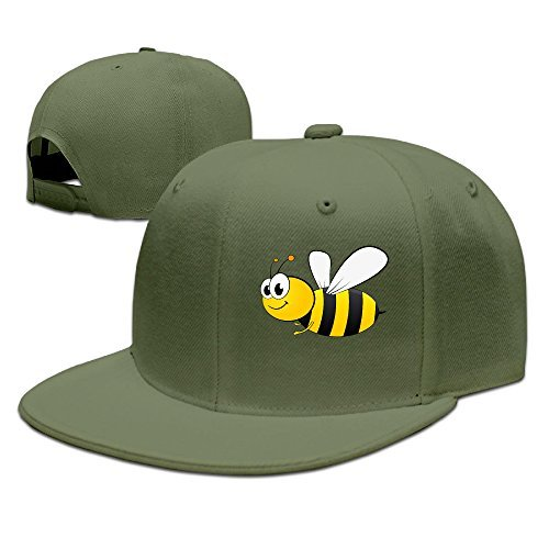 SSEE Unisex-Adult Cartoon Bee Flat Bill Hiphop Caps ForestGreen