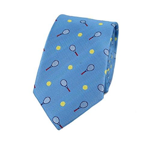 MENDEPOT Microfiber Jacquard Tennis Racket And Ball Pattern Necktie Blue Tennis Sport tie