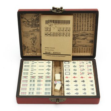 Mah Jongg Bamboo (Mah-Jongg Put - Portable Vintage Mahjong Rare Chinese Tile Set Toy Leather Box - Laid Dictated Nonmoving Primed Hard Hardening Placed Bent Located Determined Solidifying - 1PCs)