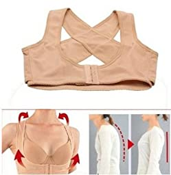OPCC Lady Chest Breast Support Belt Band Posture Corrector Brace Body Sculpting Strap Back Shoulder Vest X Type (M)
