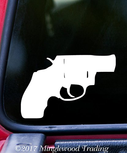 SNUB-NOSE REVOLVER Vinyl Decal Sticker 6.3' x 4.25' Pistol Gun S&W Ruger Taurus Chiappa - - BLACK