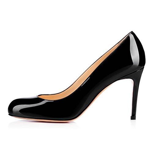 Fsj Women Scarpe Tacco Alto Formali Da Donna Slip On Slip On Business Shoes Per Signora Da Ufficio Taglia 4-15 Us Black-7 Cm