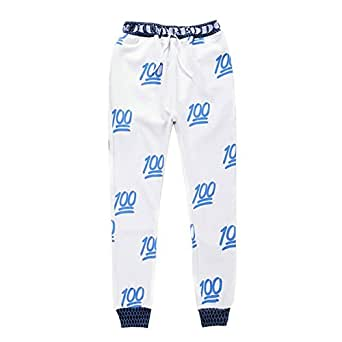 Voglee Emoji Printing Pretty Sweatpants Joggers Sweatshirt Pants (XL, Blue)