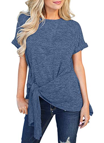 Top Shirt Denim (Chase Secret Womens Comfy Casual Short Sleeve Side Twist Knotted Tops Blouse Tunic T Shirts XX-Large Blue)