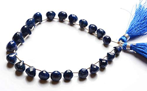 GemAbyss Beads Gemstone 1 Strand Natural 9 Inches Natural,Super Rare Blue Sapphire Faceted Onion Shape Beads Briolettes 7 to 10.5 MM - Bead Faceted Briolette Sapphire Blue