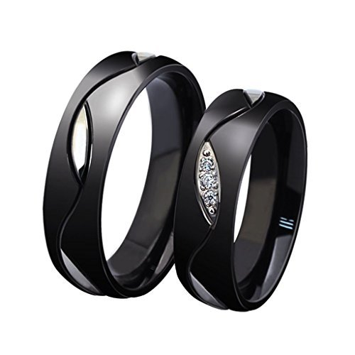 Palladium Beveled (ROWAG Novelty Mens Black Titanium Stainless Steel Couple Wedding Bands for Him and Her Womens Rhinestone CZ Inlay Valentines Day Promise Engagement Rings)