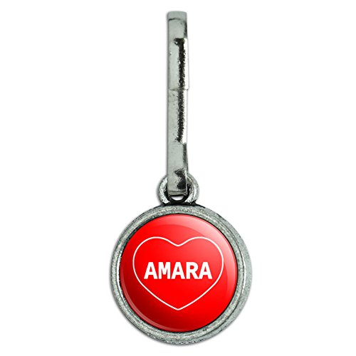 Antiqued Charm Purse Backpack Zipper Pull I Love Heart Names Female A Amar - Amara