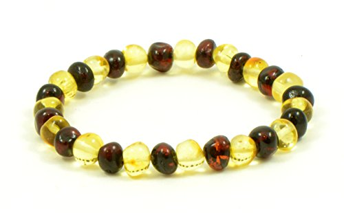 Baltic Amber Bracelet for Adults - Elastic Band - 7 inches - Amber Jewelry - Hand-Made from Polished Baltic Amber Beads (Cherry/Lemon) - Lemon Polished