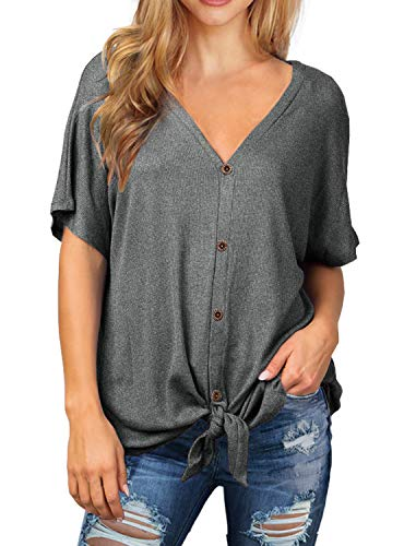 IWOLLENCE Womens Waffle Knit Tunic Blouse Tie Knot Short Sleeve Henley Tops Loose Fitting Bat Wing Shirts Dark Gray S