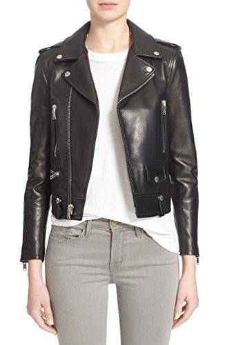 Leather Genuine Bomber Jacket - Prim leather Women's Lambskin Leather Bomber Biker Jacket XX-Large Black
