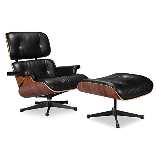(Nicer Furniture TM Eames Lounge Chair and Ottoman Black 100% Italian Genuine Full Grain Leather with Rosewood/Palisander Wood Finish True to Original Design Best Seller Eames Lounger Everyone Loves)
