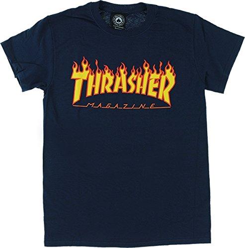 Thrasher Magazine Flame Navy Medium T-Shirt