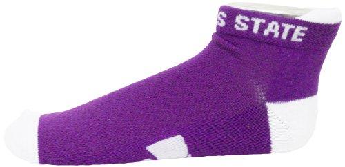 NCAA Kansas State Wildcats Men's Footie Socks, White Heel/Toe