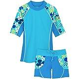 Tuga Girls Seaside S/S & Swim Short (UPF 50+), Ocean, 8/10 yrs