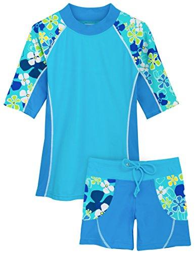 (Tuga Girls Seaside S/S & Swim Short (UPF 50+), Ocean, 6/7 yrs)