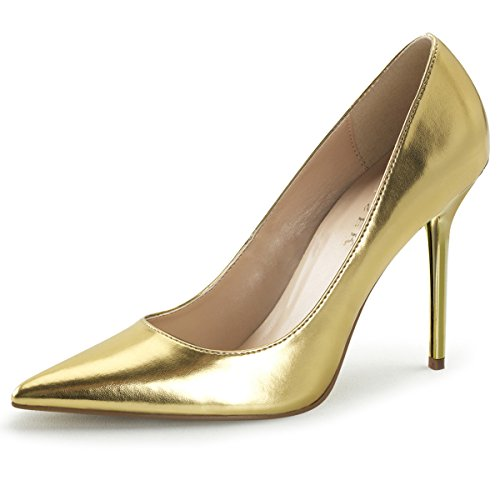 Summitfashions Womens Pointed Toe Shoes High Heel Pumps Classic Stilettos 4 inch Heels Size: 11 Colors: Gold