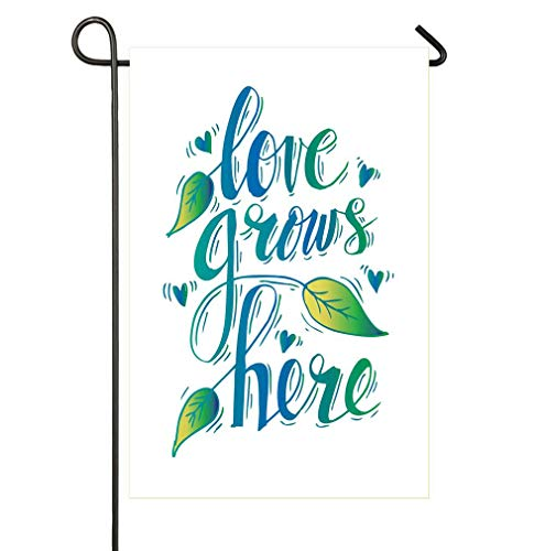 AoshangGardeflag Romantic Love Grows Here Quote with Botanical Leaf and Nature HerbsSeasonal Garden Flag Outdoors Lawn Decor PremiumHoliday Flag to Bright Up Your Life ()