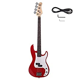 Full Size Electric Bass Guitar, Right Handed 4-String Electric Bass for Starter Beginner with AMP Wire and Accessories…