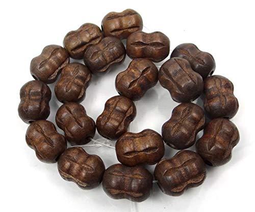 (19x14mm Coconut Brown Wood Carved Peanut/Drum Barrel Beads 15