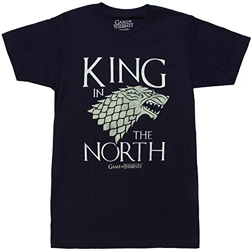 Game of Thrones King in The North Stark Sigil Adult T-Shirt - Navy (XX-Large) (The King In The North Game Of Thrones)