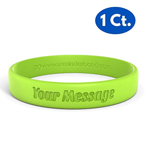 - Reminderband Classic Custom 100% Silicone Wristband - Personalized Silicone Rubber Bracelet - Customized, Events, Gifts, Support, Causes, Fundraisers, Awareness - Men, Women, Kids