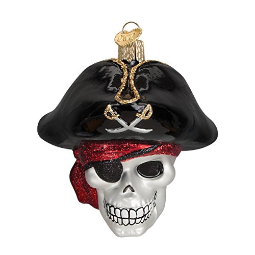 Old World Christmas Jolly Roger Glass Blown Ornament (Pirate Christmas Ornament)