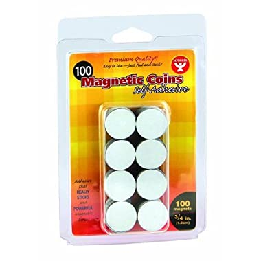 Self-adhesive Magnetic Coins - 100, 3/4  Coins