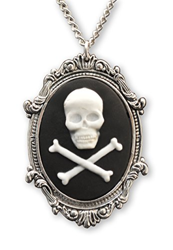 Real Metal Skull and Crossbones Cameo in Silver Finish Frame Pendant Necklace