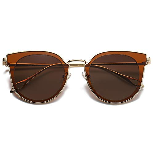 SOJOS Fashion Round Polarized Sunglasses for Women UV400 Mirrored Lens SJ1057 with Gold Frame/Gradient Brown Lens