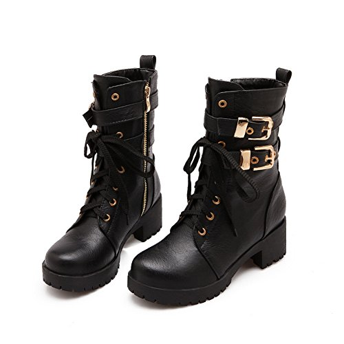 Bandage Black Platform Imitated Leather Square Heels Boots Metal Womens AdeeSu Ornament qZCwHH