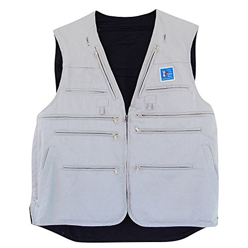 (HoboTraveler.com Reversible Hobo Pro Travel Vest 32 Pockets Beige/Navy Blue (Large))