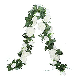 Anlise 6.5Ft Artificial Rose Vines Fake Silk Garlands Flowers Hanging Rose Ivy Plants for Hotel Wedding Home Party Garden Craft Art Decor, Pack of 2, Cream 3