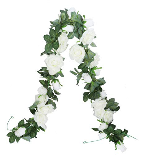 Anlise 6.5Ft Artificial Rose Vines Fake Silk Garlands Flowers Hanging Rose Ivy Plants for Hotel Wedding Home Party Garden Craft Art Decor, Pack of 2, Cream