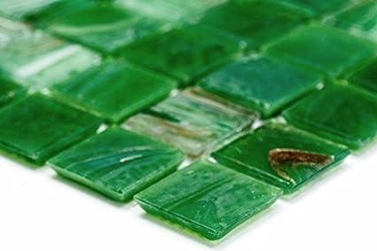 Vetro a mosaico di rete mosaico piastrelle quadrato oro silk verde