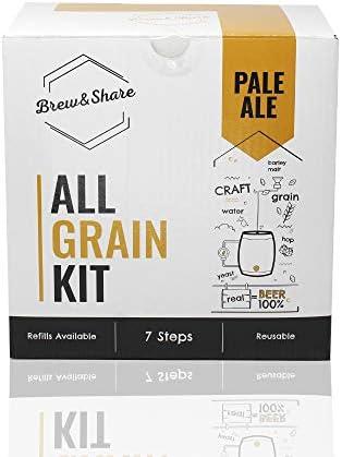 BNKR BEER Brew&Share | Kit para Hacer Cerveza Pale Ale | Tu Cerveza en 2 semanas. Elaboración con maltas. Fermentación en Barril. Materiales Reutilizables.