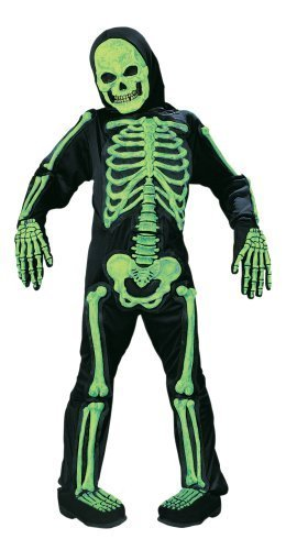 Little Kids In Halloween Costumes (Kids Scary Green Bones Skeleton Boy Halloween Costume Medium)