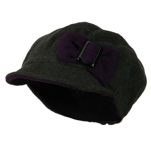Youth Bow Newsboy Cap - Dark Grey Purple OSFM