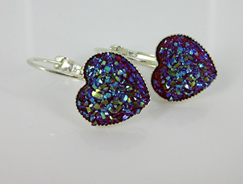 Silver-tone Raspberry Heart Faux Druzy Stone Lever-back Drop Earrings 12mm