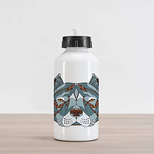 Ambesonne Pitbull Aluminum Water Bottle, Ethnic Zentangle Style Terrier Head Portrait Hand Drawn Ornament Canine Dog Animal, Aluminum Insulated Spill-Proof Travel Sports Water Bottle, Multicolor