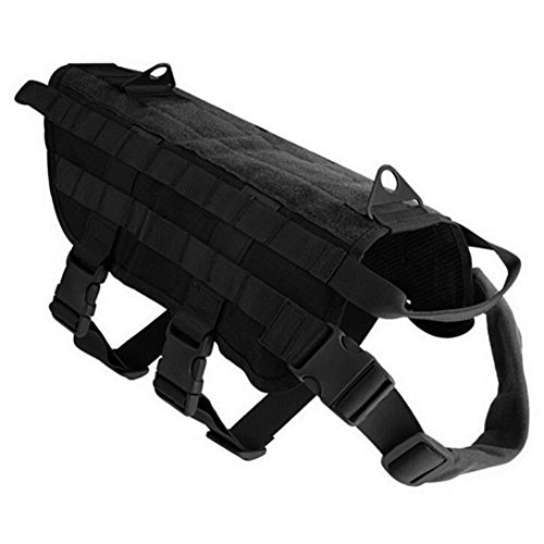 ISHOW STORE Ishowstore Tactical Dog Training Molle Vest Harness with 3 Detachable Pouches from ISHOW STORE