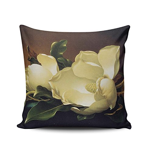 (SALLEING Custom Fashion Home Decor Pillowcase Magnolia Blooms Pattern Square Throw Pillow Cover Cushion Case 18x18 Inches One Sided Print)