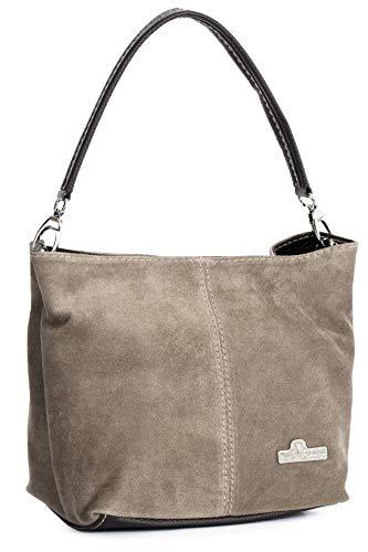 LIATALIA Womens Mini Real Italian Suede Leather Single Strap Hobo Slouch Bag - DEMI [ Deep Taupe]