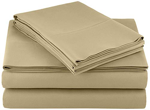 Ras Décor Linen 400-Thread-Count 100% Cotton Bed Sheets Taupe Solid King Sheet Set, 4-Piece Long-Staple Combed Cotton, Breathable, Soft & Sateen Weave Fits Mattress Upto 16'' Deep Pocket (Best Reasonably Priced Mattress)